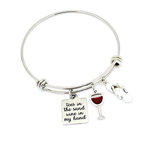 Gift for Mom, Toes in the Sand Wine in My Hand, Wine Lovers Beach Gifts Bangle Bracelet