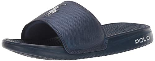 Polo Ralph Lauren Men's RODWELL Slide Sandal Blue 10 D US (Us Polo By Ralph Lauren)