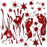 (Fantech 86PCS Halloween Party Indoor Decorations, Halloween Window Stickers Clings Decals Horror Bloody Handprints&Footprints Stickers Halloween Decor Vampire Zombie & Horror Bathroom Party)
