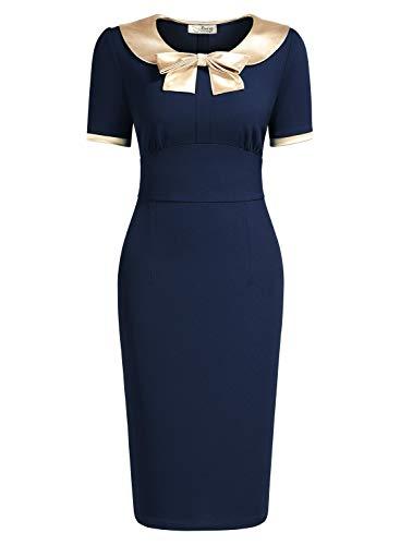 (AISIZE Women 1940s Vintage Golden Bow Wiggle Dress Large Navy Blue)
