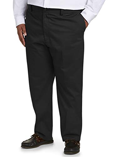 Black Chino Pants - Amazon Essentials Men's Big & Tall Relaxed-fit Wrinkle-Resistant Flat-Front Chino Pant fit by DXL, Black 48W x 30L
