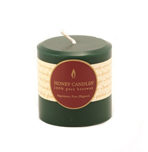 Honey Forest Organic - Honey Candles Pure Beeswax 3'' Pillar - Forest Green 1 EA