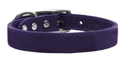 Mirage Pet Products Plain Leather Purple Dog Collar, (Purple Leather Dog Collar)