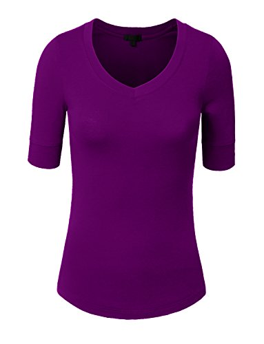 NE PEOPLE Womens Light Weight Comfy ELBOW SLEEVE V NECK TOP Shirts 9 Color