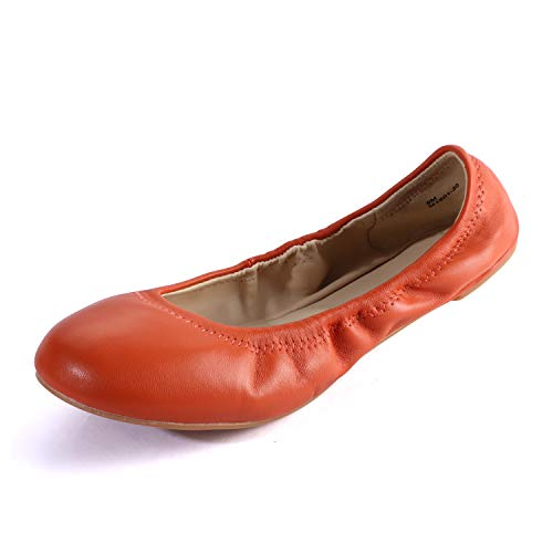 (Women's Chaste Ballet Flat Lambskin Loafers Casual Ladies Shoes Leather Pumpkin 8 )