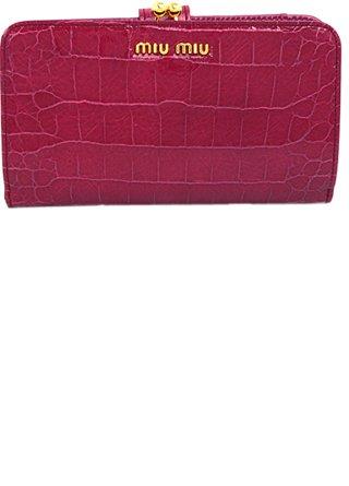 buy online 929fa 8bcf6 Amazon | MiuMiu(ミュウミュウ) 財布 クロコ型押し がま口 小銭 ...