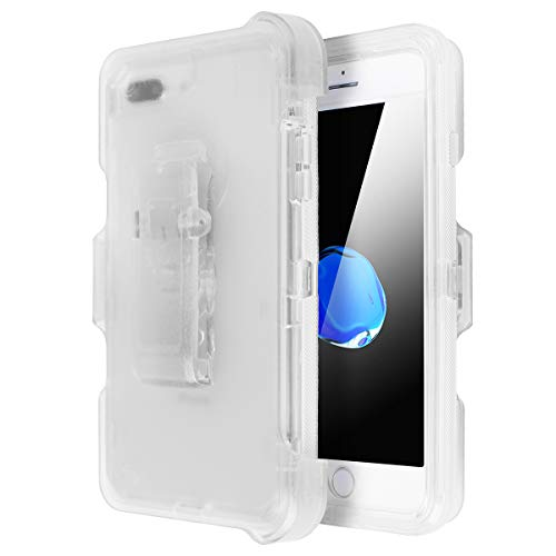 iPhone XR Shockproof Case, AICase Full Protective Clear Defender Cover Heavy Duty Holster Case Tough 4 in1 Rugged Shockproof Cover with Belt Clip for iPhone XR (Clear) Clear Cover Case Clip