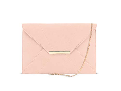 (Women Evening Purse,Envelope Wallets for Women,Party Clutch Purses for Women,DSUK Ladies Faux Suede Clutch Bag with Pocket Evening Magnet Hook Bridal Wedding Elegant Prom Handbag with Chain Light Pink)