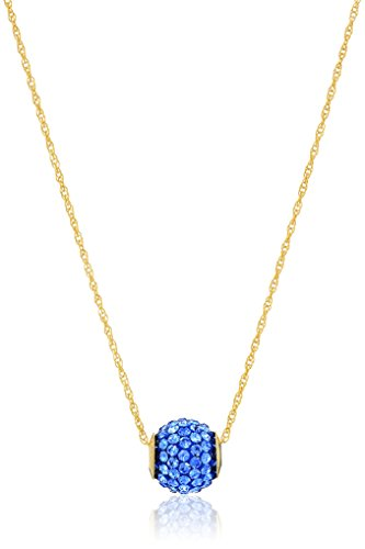 - 10K Yellow Gold Swarovski Elements Sapphire Crystal with 14K Gold Filled Chain Slide Ball Pendant Necklace, 18