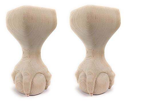 (Highland Manor Wood Products Set of 2 Ball and Claw Couch Foot - 6