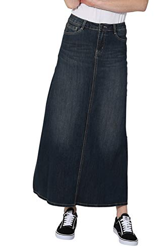 Vintage Wash Denim - Long Denim Skirt - Vintage Wash Maxi Full Length Jean Skirt with Stretch Blue