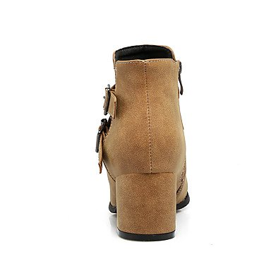 Heart&M Damen Stiefel Komfort Kunstleder Herbst Winter Normal Kleid Reißverschluss Blockabsatz Schwarz Grau Gelb 5 - 7 cm gray