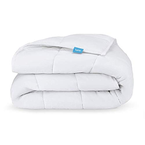 (LUNA Weighted Blanket (15 lbs - 60x80 - Queen Size) | 100% Organic Cooling Cotton & Hypoallergenic Glass Beads | Heavy for Calmer Days and Restful Nights | Kids or Adult | Designed in USA | White)