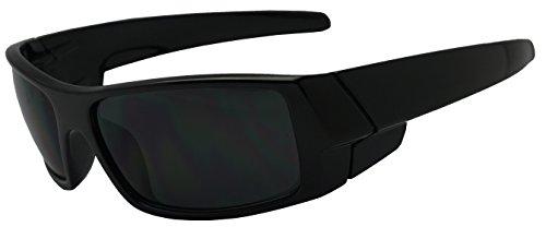 Men Limited Edition Super Dark Shades Wrap Around Motorcycle Biker Sunglasses (Glossy Black, - Shades Men In Black