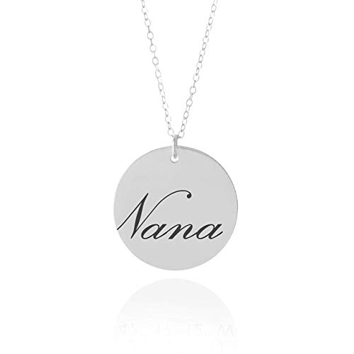 "Nana Necklace - 5/8"" Sterling Silver Necklace For Grandma"