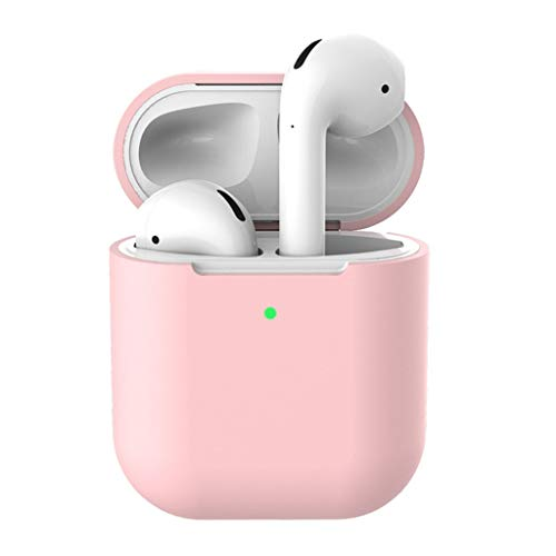 MChoice❤️Silicone Anti-Lost Protective Cover Skin Case for Apple AirPods 2 Charging Case (Pink, Without Button)