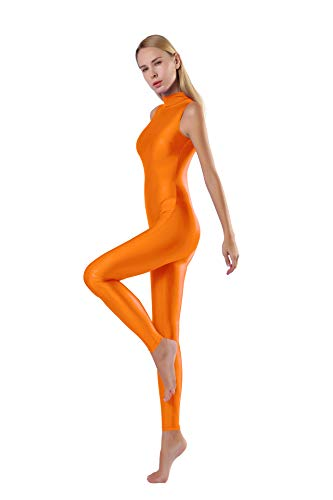 (speerise Bodycon Jumpsuits Rompers Turtle Neck Sleeveless Zip Yoga Unitard Oringe XL)
