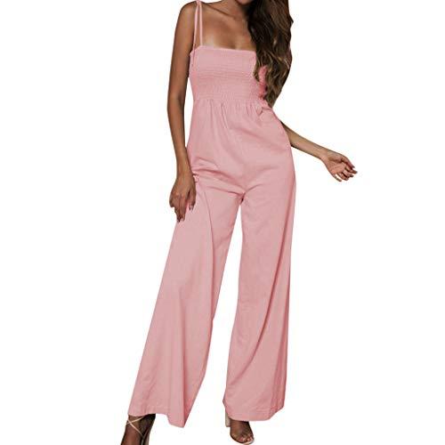TOTOD Jumpsuit Women Sunflower Dot Print Sleeveless Camis Clubwear Wide Leg Pant Bodycon Playsuit(Z-Pink,M)