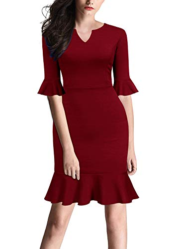FORTRIC Women Bell Sleeves Fishtail Office Work Casual Petite Dresses Burgundy XXL