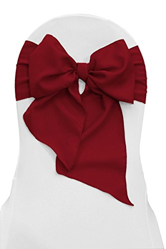 LA Linen TCpop8x108_Pk10_CranberryP28 Pack-10 Polyester Poplin Chair Bow Sashes 8 by 108-Inch, Cranberry, P28