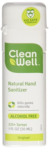 Cleanwell Natural Hand Sanitizer Spray, Original Scent, 1 oz (Pack of 6)