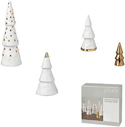 Kleiner Winterwald Gold oder Silber Porzellan weiß Tannen 4er Set Räder