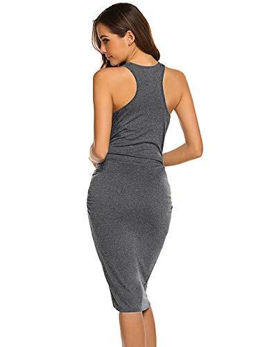 Women's Sleeveless Ruched Casual Sundress Midi Bodycon T Shirt Dress (Large, Gray)