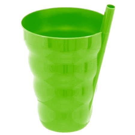 Green Direct Cup With Straw 10 Oz Plastic Cup With Built