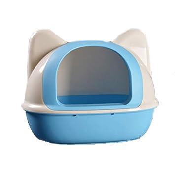 Retrete Semicerrado para Gatos Caja De Arena para Gatos Equipado con Pala De Arena De Gato Anti-Salpicaduras Cat Potty 52 * 36 * 42Cm,Blue: Amazon.es: Hogar