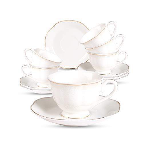 Porcelain Espresso Coffee Cup and Saucer Set - 2.8 OZ/80 ML Golden Edge New Bone China Set of 6 for Espresso, Cappuccino, Mocha