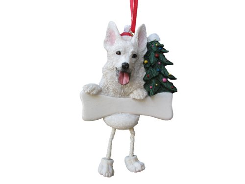 German Shepherd Ornament White with Unique ''Dangling Legs'' Hand Painted and Easily Personalized Christmas Ornament by E&S Pets