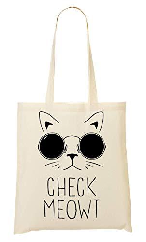 Bolso Bolsa La Compra Funny Meowt Mano Cat De Glasses Check ZIv0xw