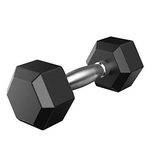 Solovley Barbell Set of 1 Hex Rubber Dumbbell with Metal Handles Pair of 1 Heavy Dumbbell (50Lb)