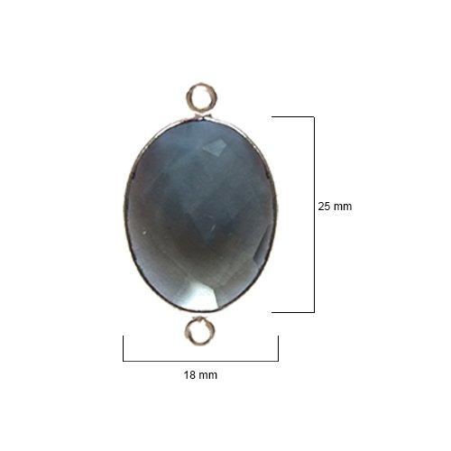 (2 Pcs London Blue Topaz Oval 18X25mm by BESTINBEADS I London Blue Topaz Stone I 2 Pcs London Blue Topaz Oval Pendant I Oval Bezel Pendant Silver I Bezels Connectors)
