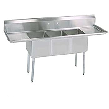 triple compartment sink faucet three drain basket bk resources left right drainboard length