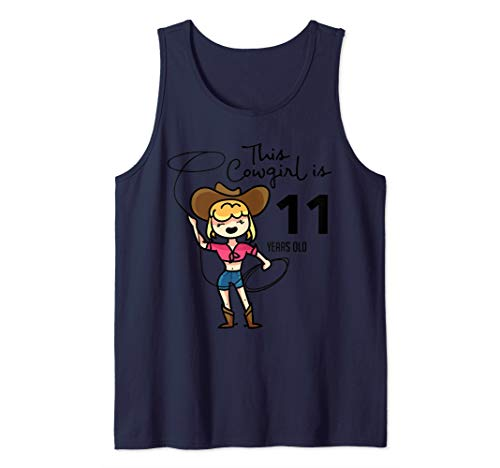 This Cowgirl Is 11 Years Old B-Day Eleven yr Art Gift Tank Top