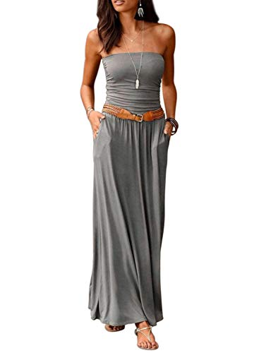 Happy Sailed Womens Bohemian Long Dresses Strapless Loose Beach Bandeau Summer Maxi Dresses X-Large Gray