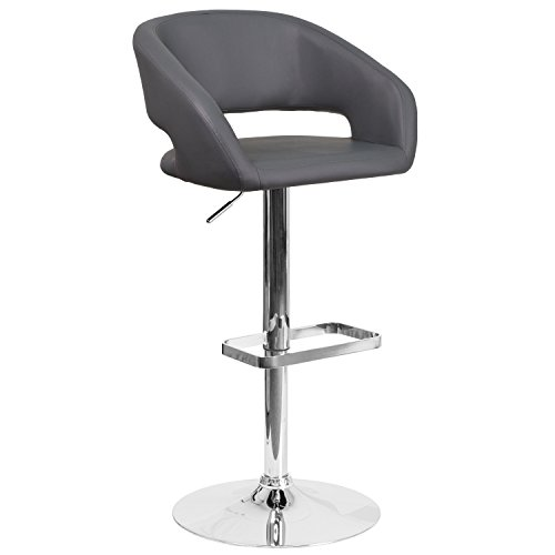 - Flash Furniture Contemporary Gray Vinyl Adjustable Height Barstool with Chrome Base