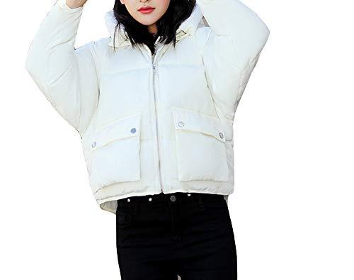 Ampia Con Cappuccio Piumino Caldo Bianca Trapuntato Loose Plus Tasca Cappotti Moda Size Donna 1qHtR0wSxw