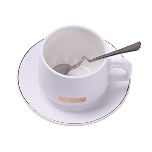 Juego de Tazas de Cafe - Tazas de Cafe - Juego de Tazas Desayuno - Exquisita Taza de Cafe - Porcelana - Taza de Cafe Capuchino - Blanco - Muy Adecuado para Te, Chocolate Caliente, Moca, Espresso