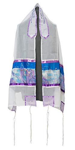 - Hand Painted Jerusalem Sunset Tallit for Women, Girls Tallit, Bat Mitzvah Tallit, 20 inches by 72 inches, Women's Tallit from Israel