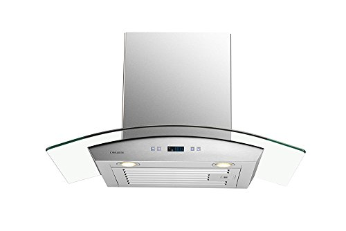 "Price comparison product image CAVALIERE 30"" Inch Glass Canopy Range Hood Wall Mounted Stainless Steel Kitchen Vent"