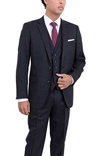 Arthur Black Men's Classic Fit Charcoal Pinstriped Two Button 3 Piece Wool Suit ()