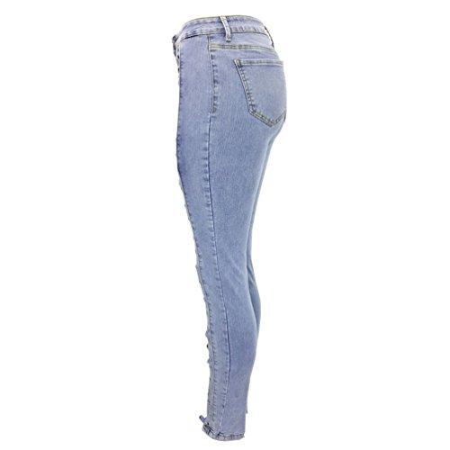 Blu Pantaloni Matita Vita Strappati Donne Stirata Stretch Sentao A Jeans Fit Alta Bendare Slim Skinny Scarni w8qZXUS