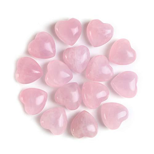 Sunligoo Natural Healing Crystal Rose Quartz Heart Love Worry Stones Set Bulk Polished Pocket Palm Thumb Gemstones Chakra Reiki Balancing - 0.6 Inches, 15 Pcs