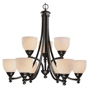 Hampton Bay Stanton Hills Collection Sable Bronze Patina Finish 6 + 3 Light Chandelier 27061