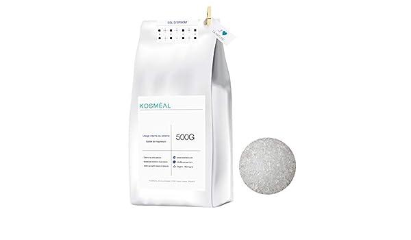 Sal de Epsom, Sulfato De Magnesio - 500 g - Baño Y Cuidado Personal - Embalaje Ecológico En Papel Kraft Blanco: Amazon.es: Salud y cuidado personal