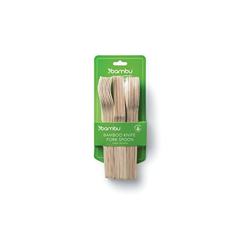 bambu, Veneerware Disposable Bamboo Cutlery Set - Pack of -