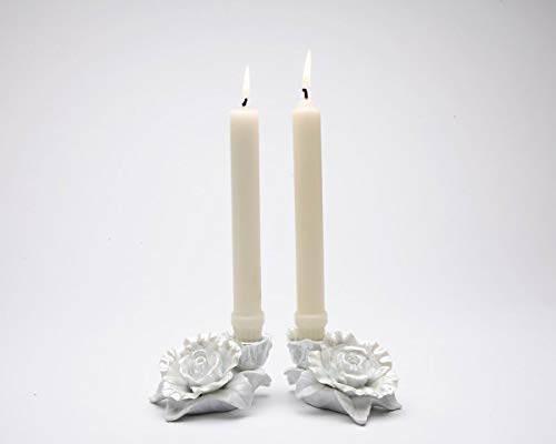 Cosmos Gifts Fine Porcelain White Rose Taper Candle Holder Pair (Set of 2) (Taper Candles NOT Included), 4-1/8