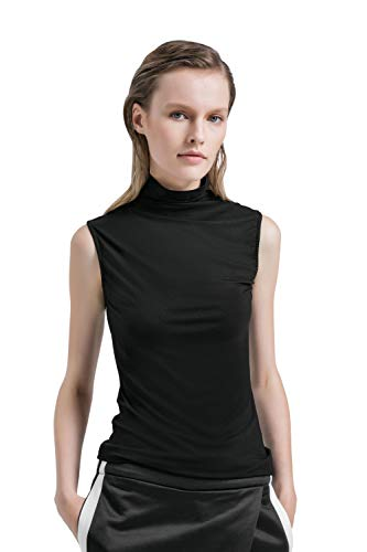 APRLL Women Sleeveless Mock Turtleneck Pullover Plain Slim Fit T Shirt (Girls Mock Turtleneck Sweater)